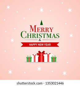 Merry Christmas and Happy New Year Premium card in winter holidays and modern typography with snowflake snow and gift in vector eps design concept