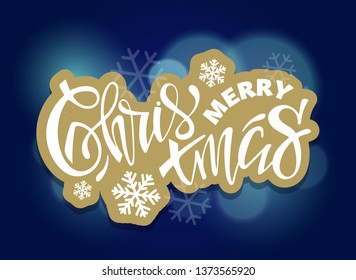 Merry Christmas and Happy New Year - lettering label art banner