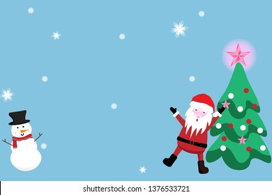 Merry Christmas and happy new year  greeting card with cute Santa,christmas tree  and snowman. Holidays cartoon character vector.