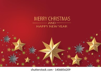 Merry Christmas and Happy New Year. Christmas greeting card red background with gold stars and silver snowflakes, gold snowflakes. Paper art style.