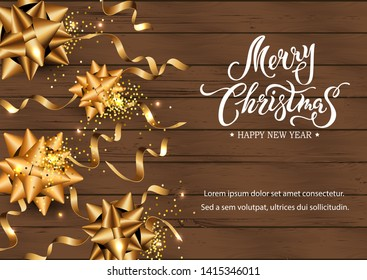 Merry Christmas and Happy New Year card. Festive background with golden ribbon and confetti on dark wood textured background. Place for text. Handwriting lettering Merry Christmas. Vector illustration