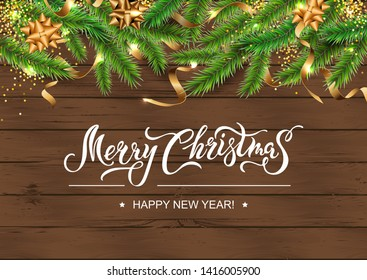 Merry Christmas and Happy New Year card. Festive background with christmas tree, confetti on dark wood textured background. Place for text. Handwriting lettering Merry Christmas. Vector illustration