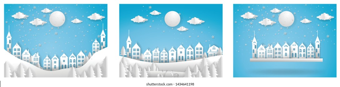 Merry Christmas and Happy New Year. Illustration of City ,paper art and cut style