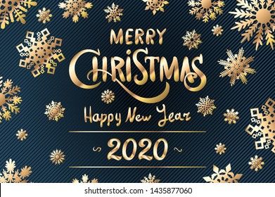 Merry Christmas and Happy New Year 2020 year blue snowflakes glittering lettering design. Vector illustration EPS10