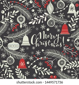 Merry Christmas, Happy New Year greeting card with text. Brochure, poster template in Christmas style. Christmas seamless pattern for greeting cards, wrapping papers. Winter hand drawn background