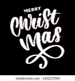 merry christmas and happy new year 2019, creative greeting card or label with glitch theme on black background vector design illustration, it can use for label, logo, sign, sticker