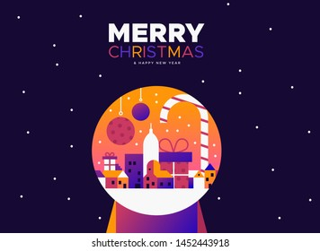 Merry Christmas and Happy New Year greeting card illustration of colorful city inside snow globe in modern gradient style. - Shutterstock ID 1452443918