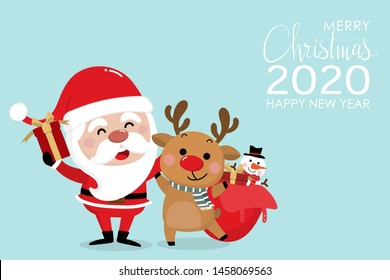 Merry Christmas and happy new year 2020 greeting card with cute Santa Claus and deer. Holiday cartoon character in winter season. -Vector.