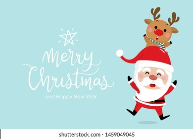 Merry Christmas and happy new year greeting card with cute Santa Claus and deer. Holiday cartoon character in winter season. -Vector.
