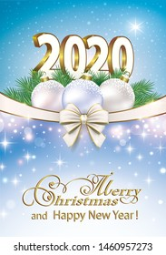 Merry Christmas and Happy New Year 2020 vector illustration blue sparkling background with stars christmas balls ribbon bow for greetings, invitations, cards.