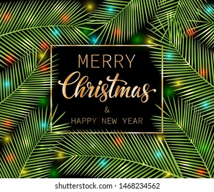 Merry Christmas and Happy New Year. Bright Tropical card for your design. Vector illustration.