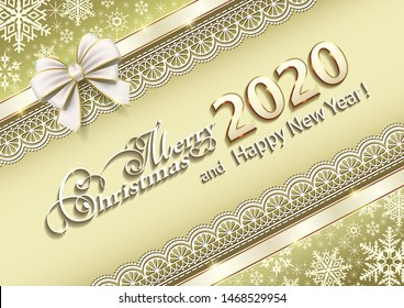 Merry Christmas and Happy New Year 2020, golden background snowflakes is decorated with ribbon and bow. Vector illustration