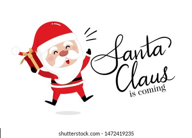 Merry Christmas and happy new year greeting card with cute Santa Claus. Holiday cartoon character vector. Lettering calligraphy hand written.