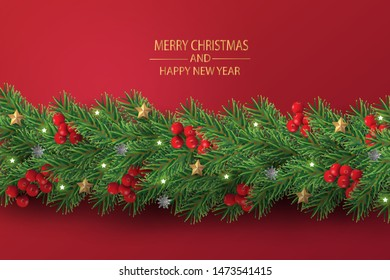 Merry Christmas and Happy New Year. Christmas tree branches with decorated in red background.