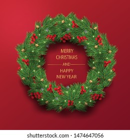 Merry Christmas and Happy New Year. Illustration of Christmas wreath with decoration in red background.