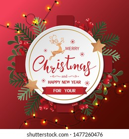 Merry Christmas and Happy New Year greeting card with Christmas element on red background. Vector illustration. Paper cut style.