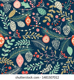 Merry Christmas, Happy New Year seamless pattern with toys, fir cone, holly leaves and berries for greeting cards, wrapping papers. Seamless winter pattern. Vector illustration.