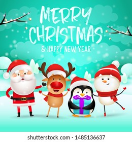 Merry Christmas and Happy New Year lettering, reindeer, snowman. Christmas greeting card. Handwritten and typed text, calligraphy. For leaflets, brochures, invitations, posters or banners.