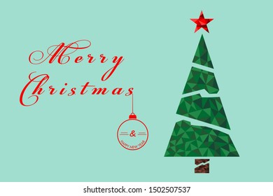 Merry christmas and happy new year in low poly style vector illustration