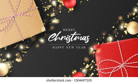 Merry Christmas and Happy New Year card. Holiday background with realistic gift boxes, sparkling light garlands, Christmas balls and golden confetti. Festive vector illustration.