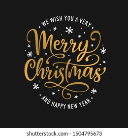 Merry Christmas and Happy New Year lettering template. Greeting card invitation with snowflakes. Winter holidays related typographic quote. Vector vintage illustration.