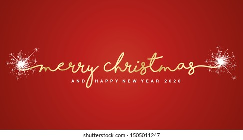 Merry Christmas and Happy New Year 2020 handwritten lettering tipography sparkle firework white red background