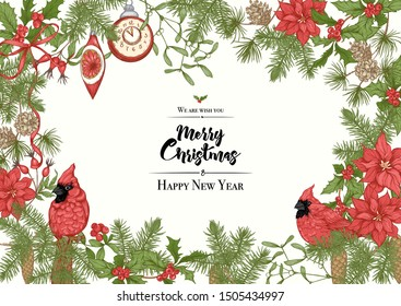 Merry Christmas and Happy New Year greeting card, banner  with traditional winter plants and birds, vintage decoration, red ribbon and. Graphic drawing, engraving style. Vector illustration.