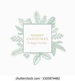 Merry Christmas and Happy New Year Abstract Botanical Card with Square Frame Banner and Modern Typography. Green and Pink Pastel Colors Greeting Layout. Isolated.
