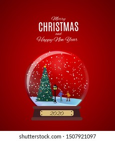 Merry Christmas and Happy New Year Background with Little Town in retro Style. Vector Illustration EPS10