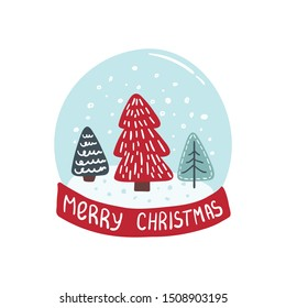 Merry Christmas and Happy New Year card with christmas tree