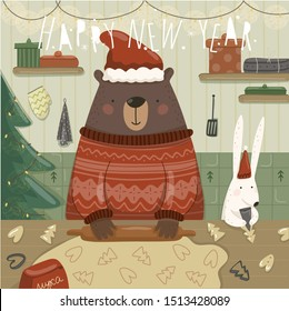 Merry Christmas and a happy new year! Vector illustration of cute animal teddy bear and hare preparing gingerbread cookies for the holiday in the kitchen. Drawing for card, background or poster.
