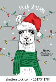 Merry christmas and happy new year festive card vector illustration. Alpaca in red santa claus cap with pompon congratulating everyone fa-la-la-llama. Xmas holidays concept