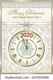 Merry Christmas and Happy New Year 2020. Vector design postcard with a clock on the background of the pattern in the frame with ribbon and bow