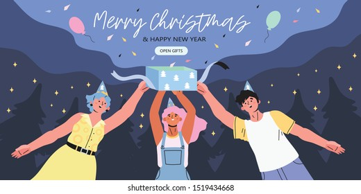Merry christmas and happy new year banner, flyer, landing page with people open a gift box with a greeting and a surprise. Group of young people on a night starry winter background with fir-trees.