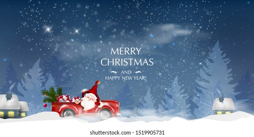 Merry Christmas and Happy New Year. Christmas landscape card design of retro red car with tree on the top. Merry Christmas design card with Santa Claus driving red car on snowy hills.