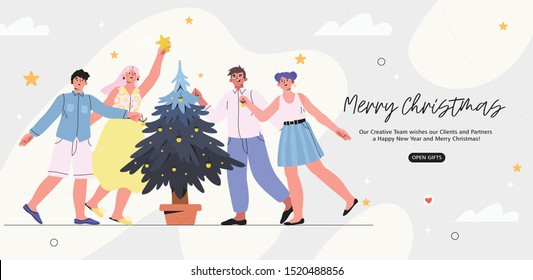 Merry Christmas and happy new year banner, flyer, landing page with people decorating a fir-tree in an office. Corporate christmas greeting for clients, customers, partners in a bright trendy style.