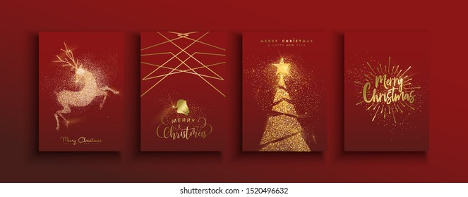 Merry Christmas Happy new year greeting card set of gold glitter dust pine tree and holiday golden reindeer on festive red background.