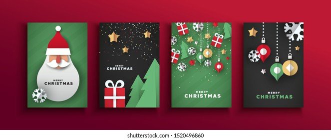 Merry Christmas Happy New Year greeting card set of festive papercut xmas decoration, santa claus ornament and paper cut snow. Cute holiday celebration invitation collection.