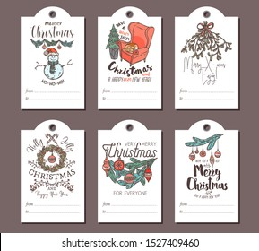 Merry Christmas and Happy New Year greeting cute tags or cards for gifts with festive icons, emblems, labels and congratulation. Linear vector doodle illustrations, hand drawn design and templates