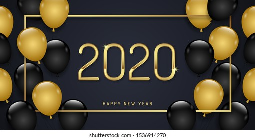 Merry christmas and happy new year 2020 banner template frame and balloons decoration for flyers, poster, web and card vector illustration