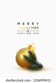 Merry Christmas and Happy New Year. Xmas Background with gold ball bauble, realistic pine and spruce branches. Greeting card, banner, poster. vector illustration