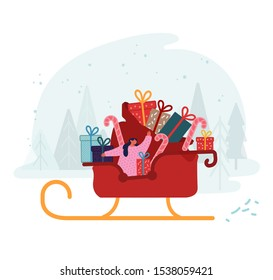 Merry Christmas and Happy New Year Greetings. Girl Santa Claus Helper Riding Reindeer Sledge with Huge Bag Full of Wrapped Gift Boxes Waving Hand. Winter Holidays Cartoon Flat Vector Illustration