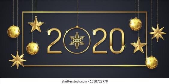 Merry christmas and happy new year 2020 banner template hanging stars, frame and golden glitter balls decoration for flyers, poster, web and card vector illustration