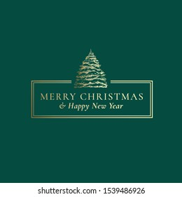 Merry Christmas and Happy New Year Abstract Vector Classy Frame Label, Sign or Card Template. Hand Drawn Pine Tree under Snow Sketch Illustration with Vintage Typography. Premium Green Background.