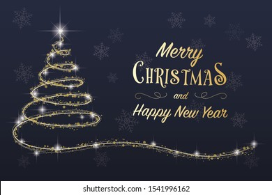 Merry Christmas and Happy New Year season's greeting card with golden text, hand drawn glittering xmas tree, shining stars and snowflakes, winter holiday, vector postcard 4 by 6 format