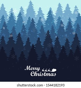 Merry christmas and happy new year, Holiday Christmas Pine Tree Forest, Winter landscape background with falling snow Cartoon Graphic, new year card, vector illustration.