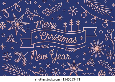 Merry Christmas and Happy New Year greeting card vector template. Traditional festive congratulation. Winter holidays attributes. Fir branches and garlands. Xmas items postcard design.