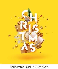 Feliz Navidad y Feliz Año Nuevo. Fondo festivo de Navidad con objetos realistas. Elementos de vacaciones, 3d renderizado y realismo. Tarjeta de saludo, banner, afiche web. ilustración vectorial