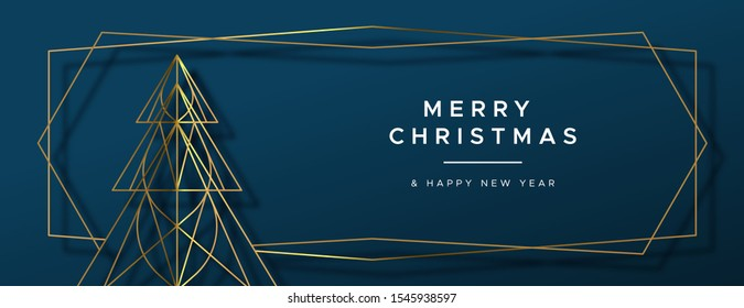 Merry Christmas and Happy New Year web banner illustration of gold luxury xmas pine tree frame in geometric art deco style for elegant holiday celebration.