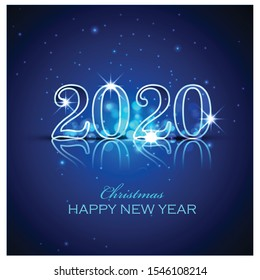 Merry Christmas Happy NEW Year 2020 greeting card illustration